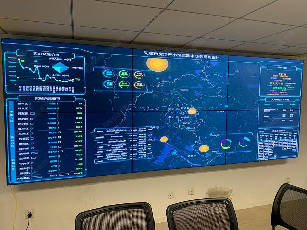 天津房管局会议室55寸3.5mm 2*3 数据可视化大屏
